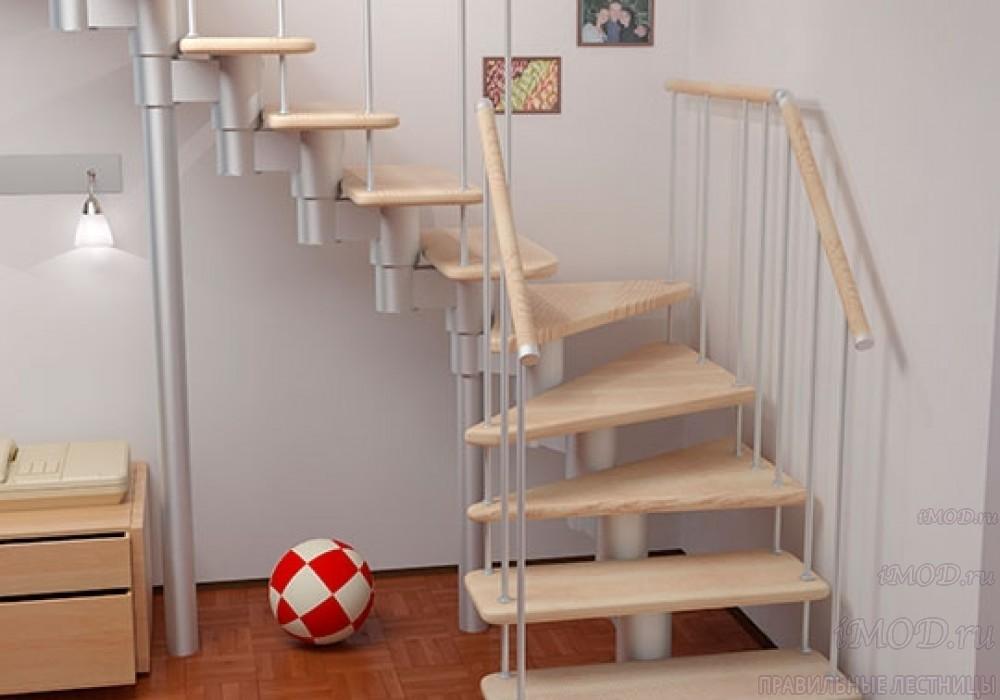 """Фото 18: межэтажные лестницы на 2 этаж """"Престиж"""" Г-образные модульные с поворотом 90 градусов - фото 18."""