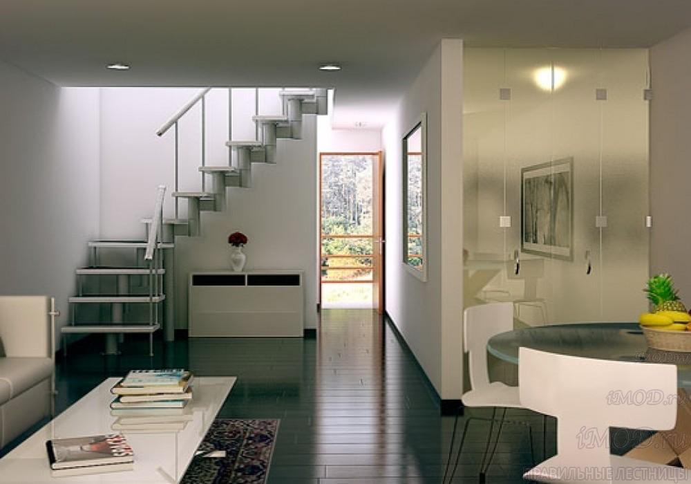 """Фото 16: межэтажные лестницы на 2 этаж """"Престиж"""" Г-образные модульные с поворотом 90 градусов - фото 16."""