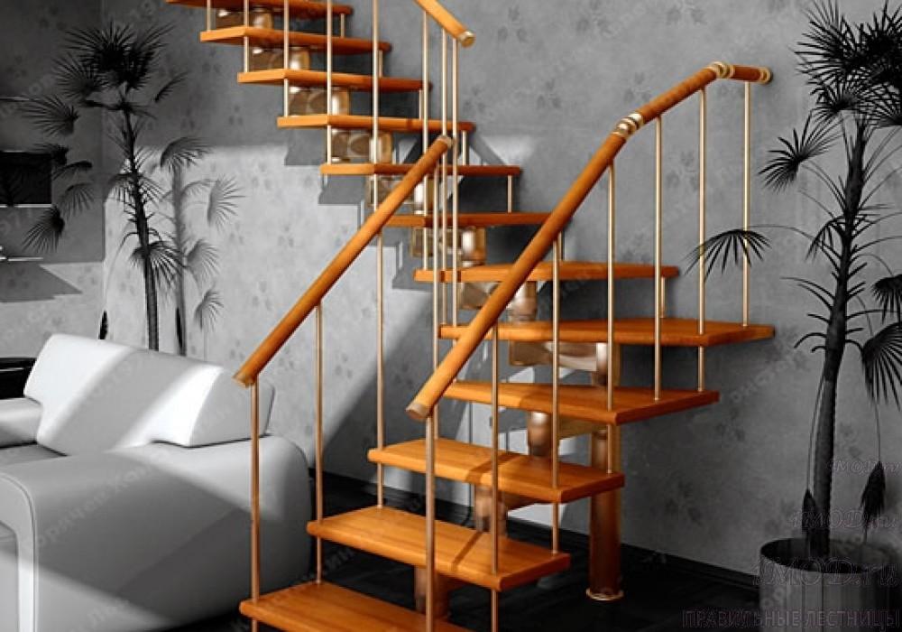 """Фото 20: межэтажные лестницы на 2 этаж """"Престиж"""" Г-образные модульные с поворотом 90 градусов - фото 20."""