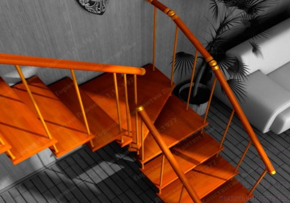 """Фото 15: межэтажные лестницы на 2 этаж """"Престиж"""" Г-образные модульные с поворотом 90 градусов - фото 15."""