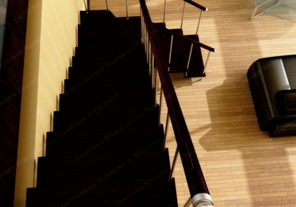 """Фото 19: межэтажные лестницы на 2 этаж """"Престиж"""" Г-образные модульные с поворотом 90 градусов - фото 19."""