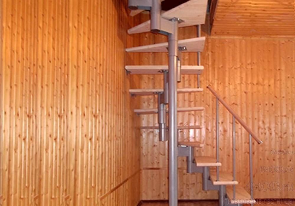 """Фото 3: межэтажные лестницы на 2 этаж """"Престиж"""" Г-образные модульные с поворотом 90 градусов - фото 3."""