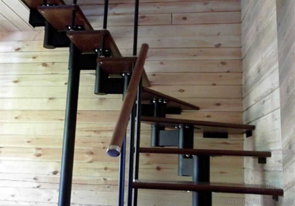 """Фото 14: межэтажные лестницы на 2 этаж """"Престиж"""" Г-образные модульные с поворотом 90 градусов - фото 14."""