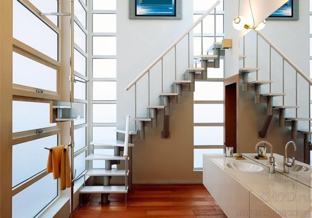 """Фото 11: межэтажные лестницы на 2 этаж """"Престиж"""" Г-образные модульные с поворотом 90 градусов - фото 11."""
