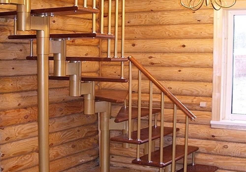 """Фото 4: межэтажные лестницы на 2 этаж """"Престиж"""" Г-образные модульные с поворотом 90 градусов - фото 4."""