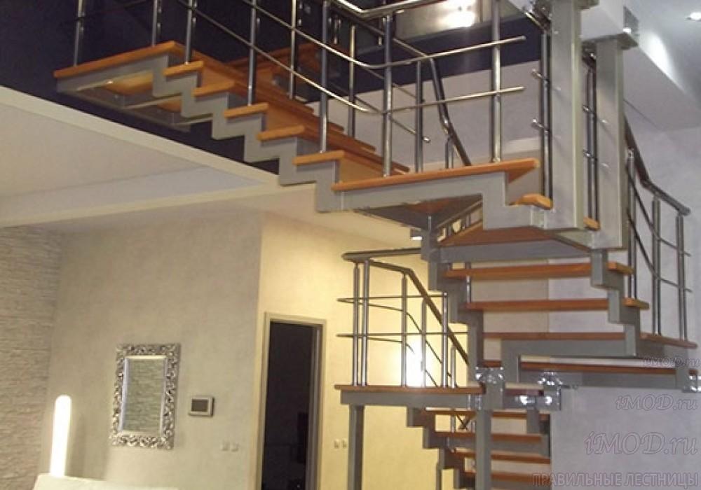"""Фото 12: лестница на 2 этаж П-образная """"СуперЭлегант"""". Изготовление лестницы на заказ с монтажом под ключ в частный дом, коттедж, таунхаус, фото 12."""