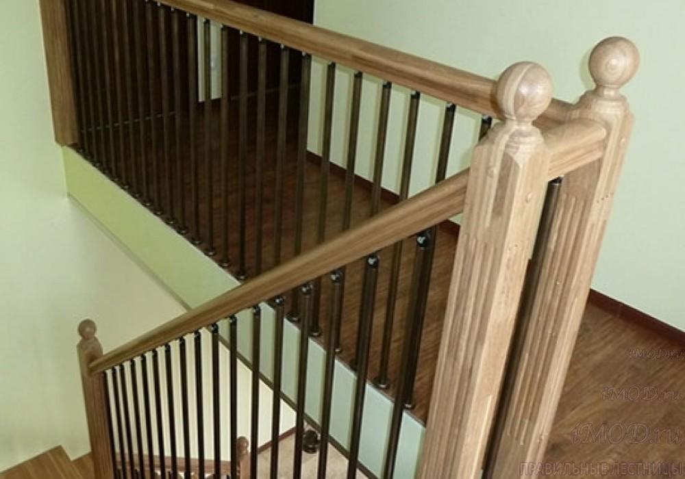 """Фото 5: лестница на 2 этаж П-образная """"СуперЭлегант"""". Изготовление лестницы на заказ с монтажом под ключ в частный дом, коттедж, таунхаус, фото 5."""