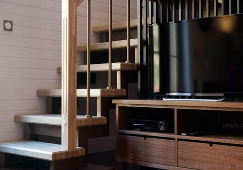 """Фото 2: прямая лестница на 2 этаж в коттедж, частный дом, таунхаус """"СуперЭлегант"""". Изготовление лестницы на заказ с монтажом под ключ. Фотография 2."""