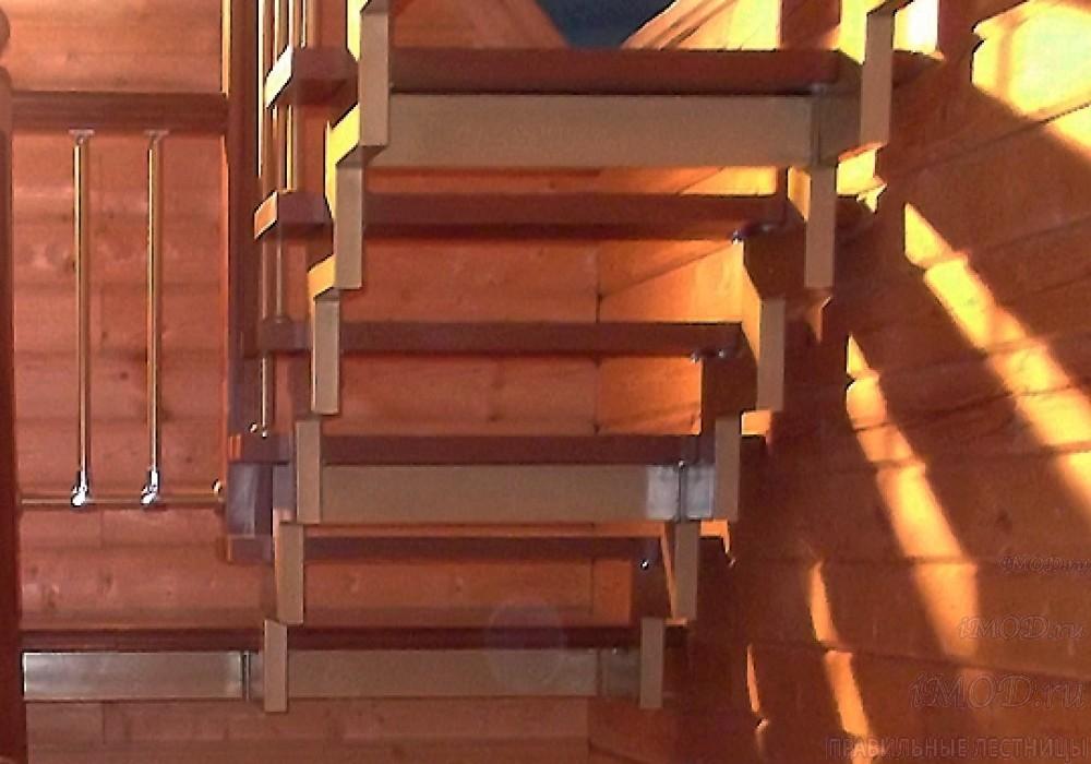 """Фото 8 прямая лестница на 2 этаж в коттедж, частный дом, таунхаус """"СуперЭлегант"""". Изготовление лестницы на заказ с монтажом под ключ. Фотография 8."""