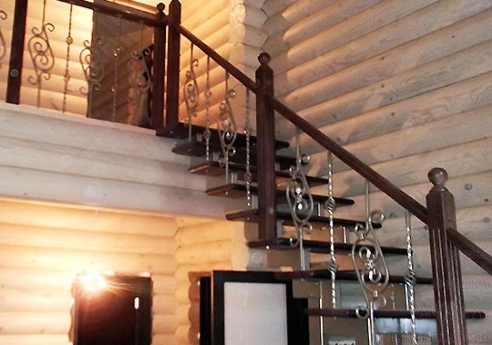"""Фото 1: прямая лестница на 2 этаж в коттедж, частный дом, таунхаус """"СуперЭлегант"""". Изготовление лестницы на заказ с монтажом под ключ. Фотография 1."""