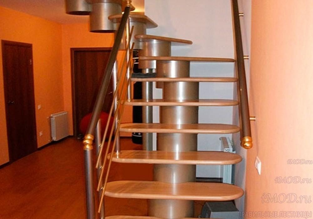 """Фото: лестница на второй этаж Г-образная ,бизнес-класса """"Модерн""""-2."""