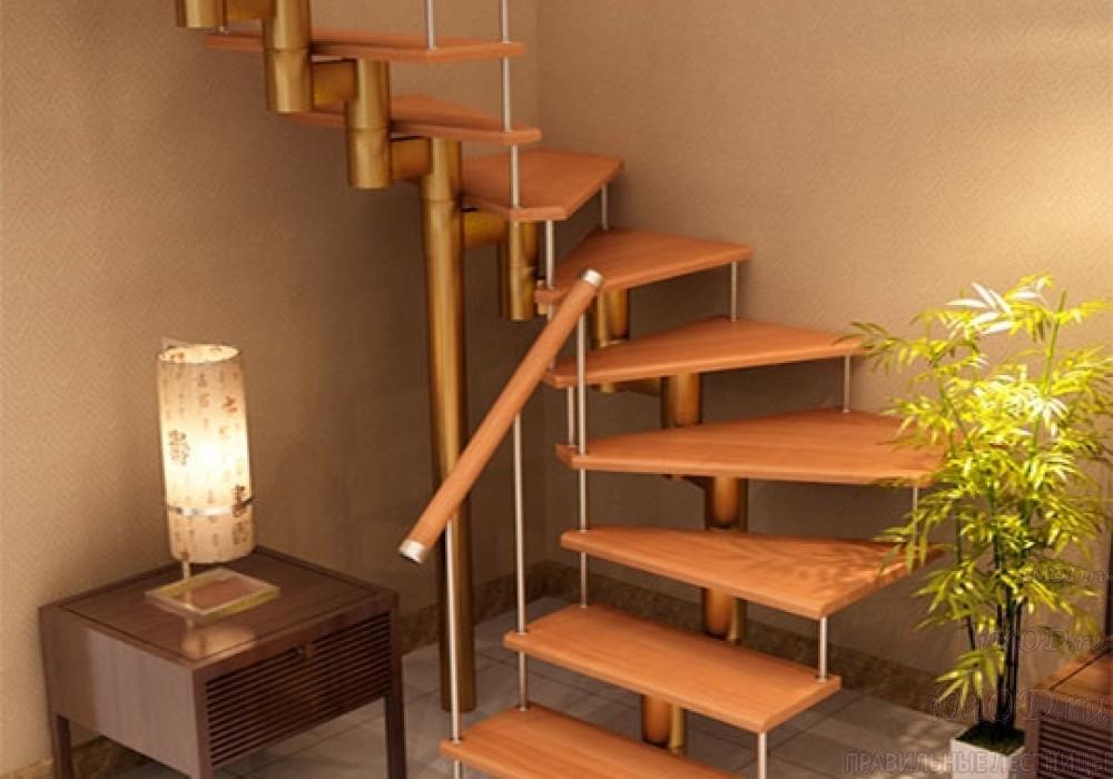 """Фото 1: лестницы на второй этаж П-образные """"Престиж"""" разворотные, фото1."""