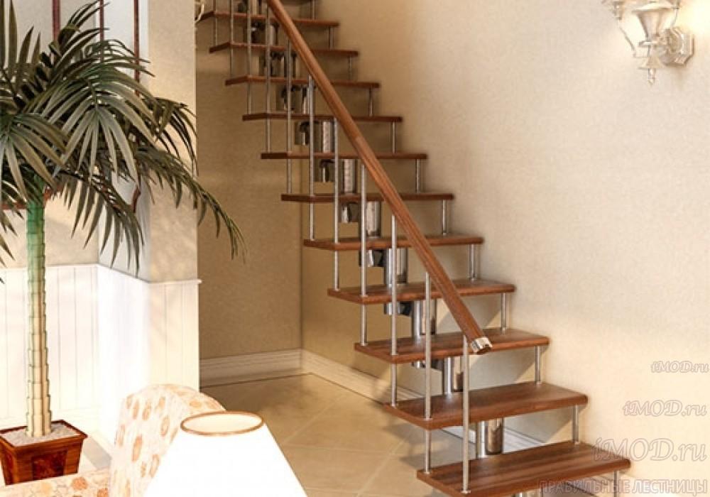 """Фото 6: прямая лестница на второй этаж """"Престиж"""" одномаршевая в загородный дом, коттедж, таунхаус, для дачи-фото6."""