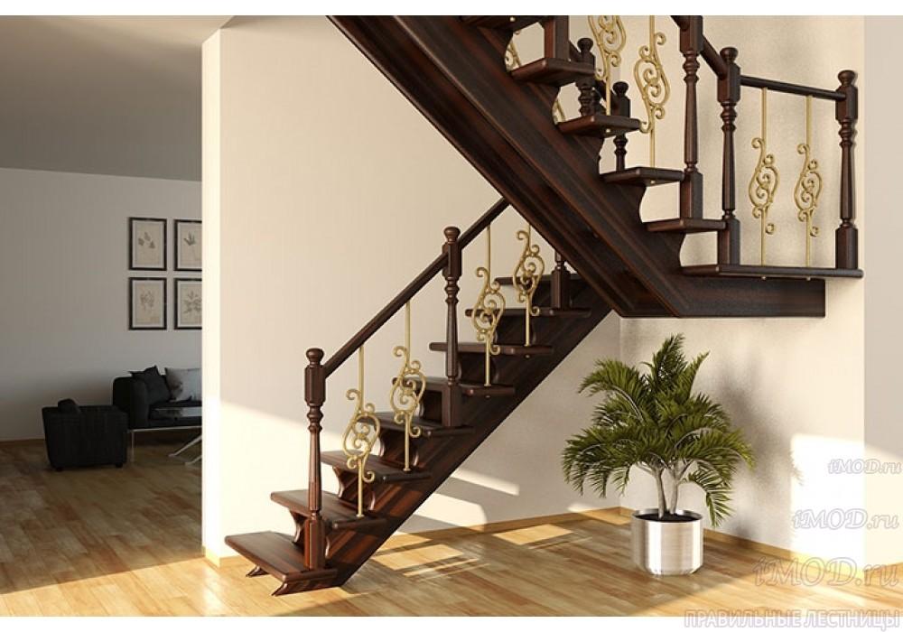 """Фото 2: деревянная лестница на второй этаж """"Дуэт"""" с разворотом из бука - фото 2."""