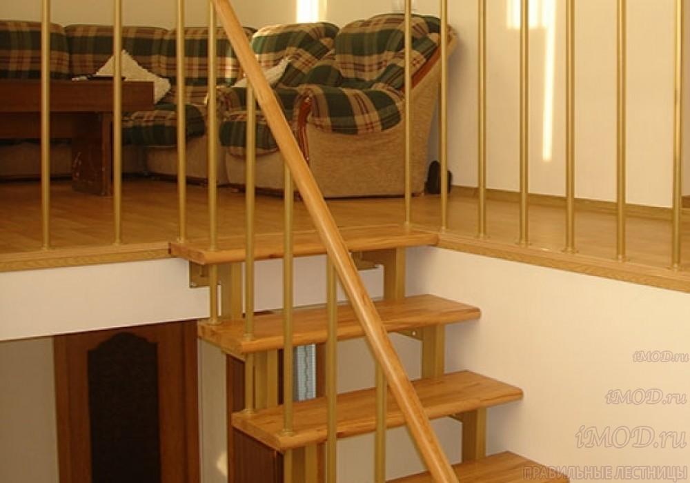 """Фото 10: модульная прямая лестница на 2-й этаж эконом-класса""""Элегант"""" - фото 10 фотогалереи """"Лестницы""""."""
