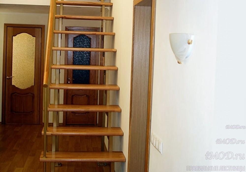 """Фото 12: модульная прямая лестница на 2-й этаж эконом-класса""""Элегант"""" - фото 12 фотогалереи """"Лестницы""""."""