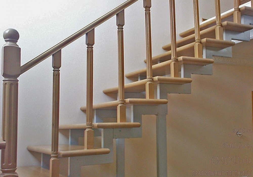 """Фото 13: модульная прямая лестница на 2-й этаж эконом-класса""""Элегант"""" - фото 13 фотогалереи """"Лестницы""""."""