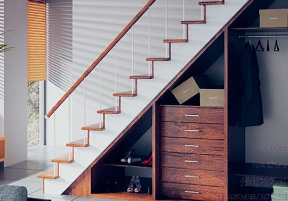 """Фото 7: модульная прямая лестница на 2-й этаж эконом-класса""""Элегант"""" - фото 7 фотогалереи """"Лестницы""""."""