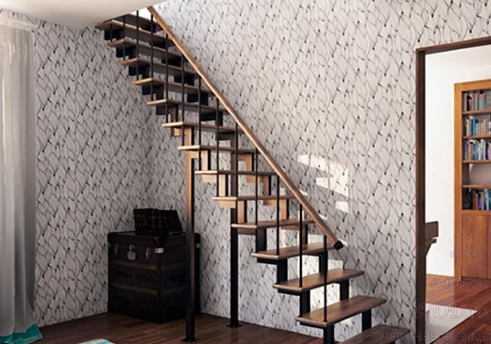 """Фото 6: модульная прямая лестница на 2-й этаж эконом-класса""""Элегант"""" - фото 6 фотогалереи """"Лестницы""""."""