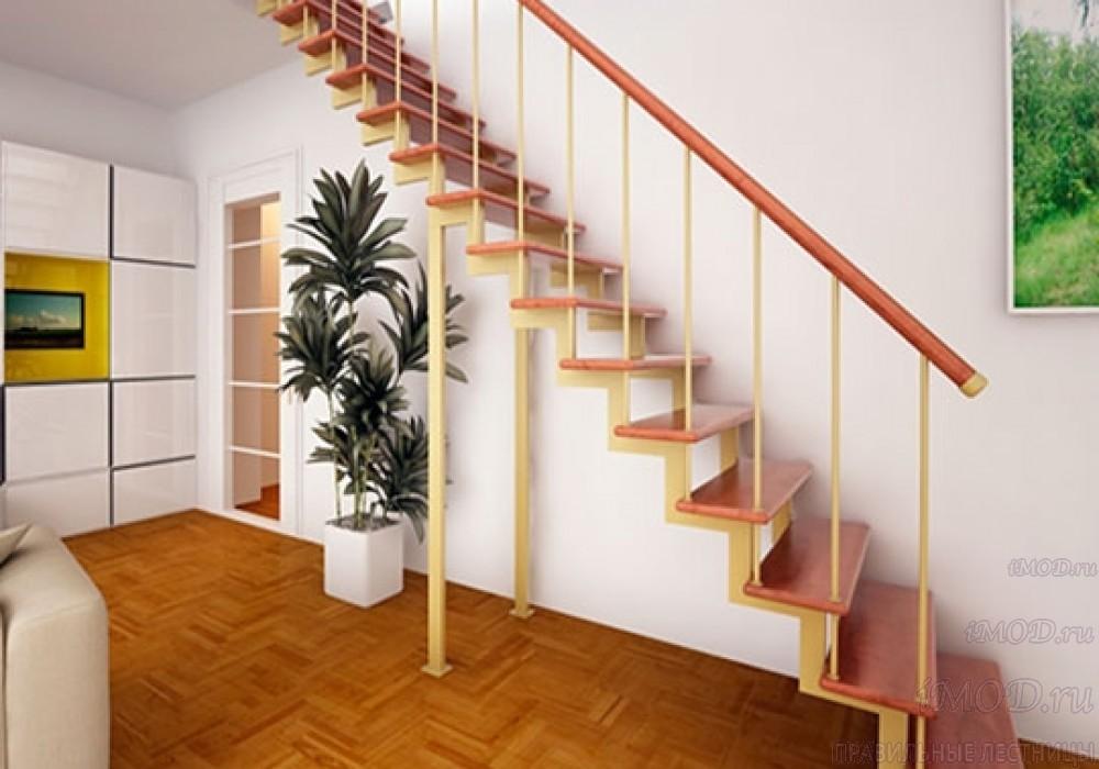 """Фото 2: модульная прямая лестница на 2-й этаж эконом-класса""""Элегант"""" - фото 2 фотогалереи """"Лестницы""""."""