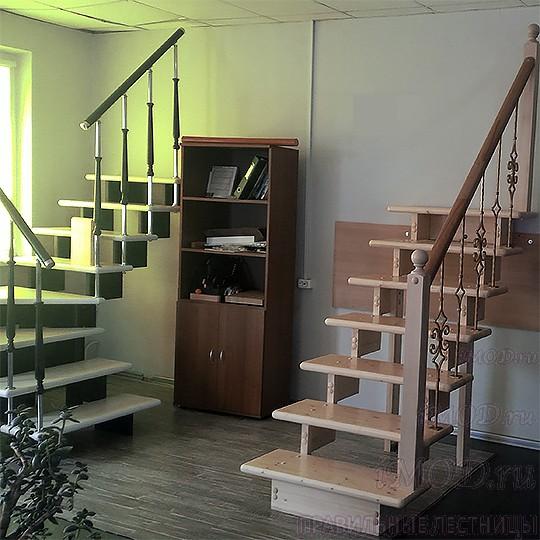 Готовые деревянные модульные прямые лестницы на второй этаж в частный дом, коттедж, для дачи Эволес (бук, комплект). Цена без стоимости монтажа.