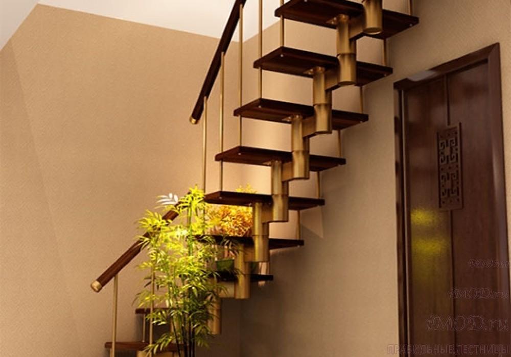 """Фото 2: межэтажные лестницы на 2 этаж """"Престиж"""" Г-образные модульные с поворотом 90 градусов - фото 2."""