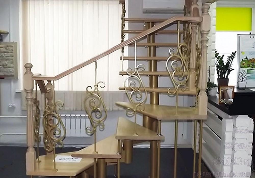 """Фото 21: межэтажные лестницы на 2 этаж """"Престиж"""" Г-образные модульные с поворотом 90 градусов - фото 21."""