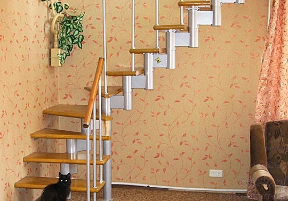"""Фото 10: межэтажные лестницы на 2 этаж """"Престиж"""" Г-образные модульные с поворотом 90 градусов - фото 10."""