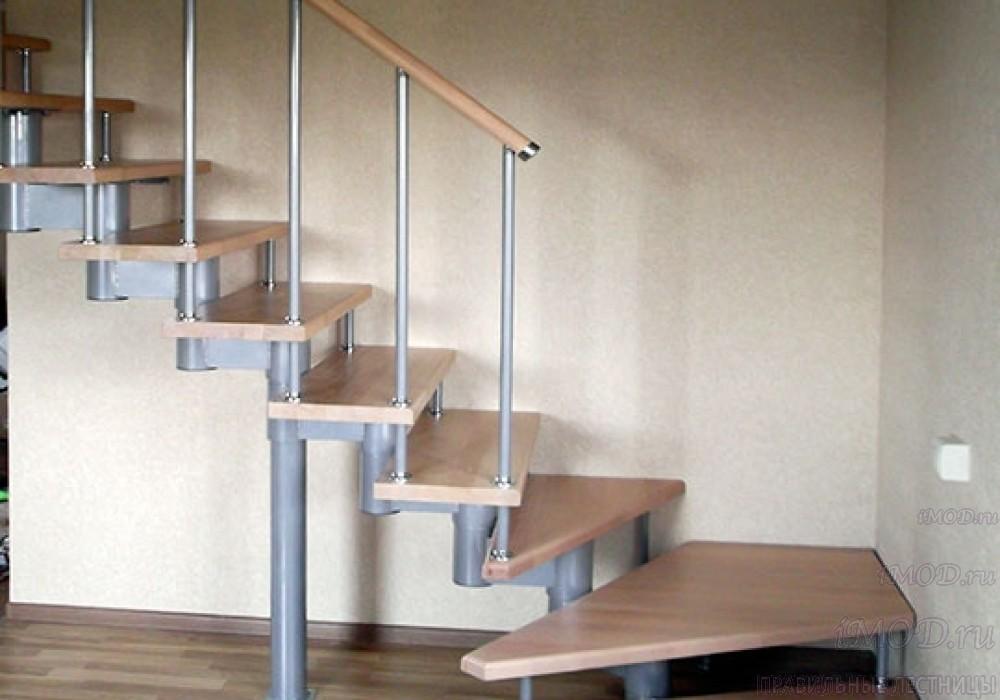 """Фото 17: межэтажные лестницы на 2 этаж """"Престиж"""" Г-образные модульные с поворотом 90 градусов - фото 17."""