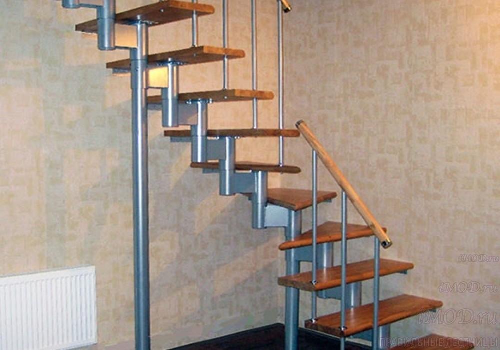 """Фото 9: межэтажные лестницы на 2 этаж """"Престиж"""" Г-образные модульные с поворотом 90 градусов - фото 9."""
