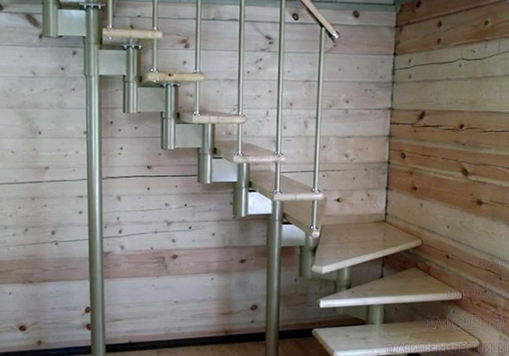 """Фото 7: межэтажные лестницы на 2 этаж """"Престиж"""" Г-образные модульные с поворотом 90 градусов - фото 7."""