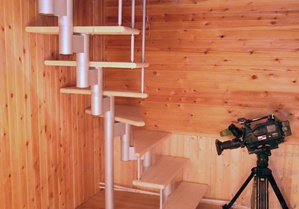 """Фото 8: межэтажные лестницы на 2 этаж """"Престиж"""" Г-образные модульные с поворотом 90 градусов - фото 8."""