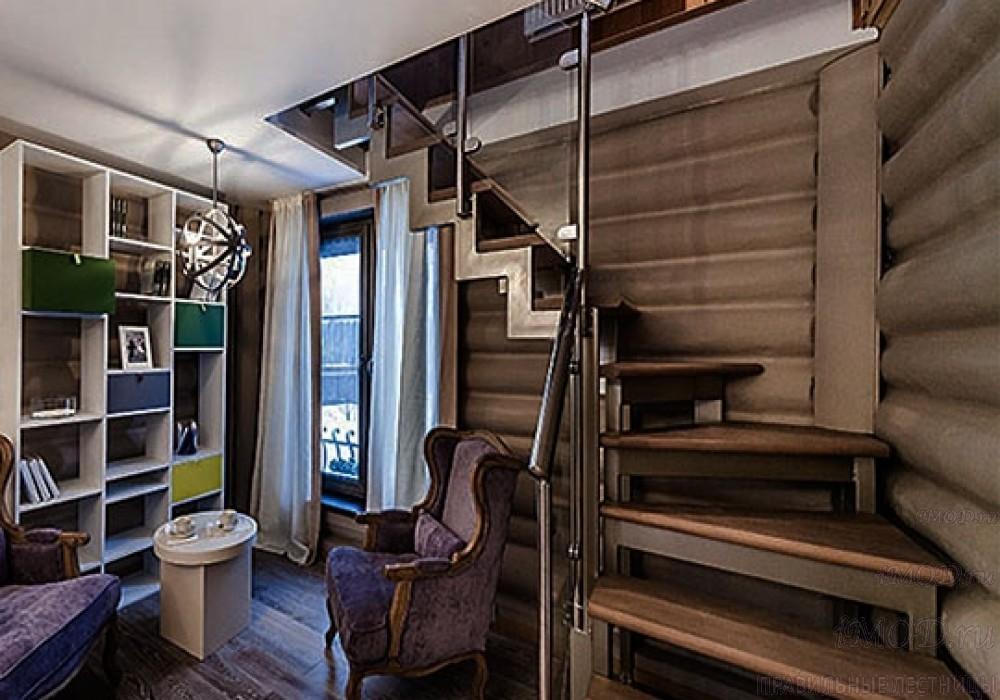 """Фото 15: лестница на второй этаж (на заказ) """"СуперЭлегант"""" Г-образная с поворотом. Изготовление лестницы на заказ под ключ, фото 15."""