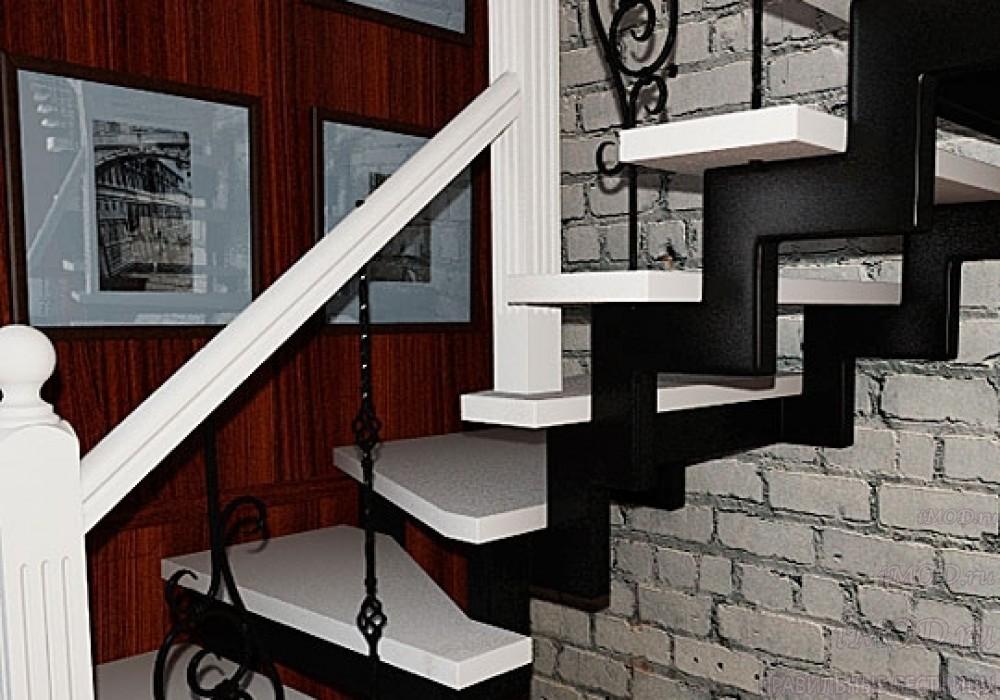 """Фото 14: лестница на второй этаж (на заказ) """"СуперЭлегант"""" Г-образная с поворотом. Изготовление лестницы на заказ под ключ, фото 14."""