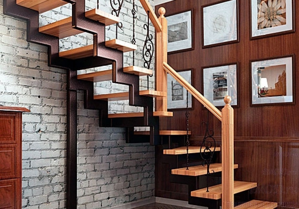 """Фото 13: лестница на второй этаж (на заказ) """"СуперЭлегант"""" Г-образная с поворотом. Изготовление лестницы на заказ под ключ, фото 13."""