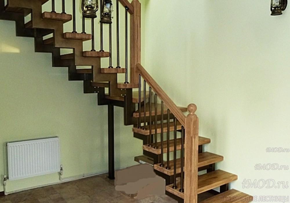 """Фото 11: лестница на второй этаж (на заказ) """"СуперЭлегант"""" Г-образная с поворотом. Изготовление лестницы на заказ под ключ, фото 11."""