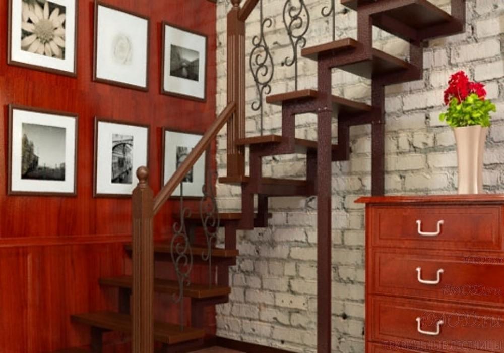 """Фото 9: лестница на второй этаж (на заказ) """"СуперЭлегант"""" Г-образная с поворотом. Изготовление лестницы на заказ под ключ, фото 9."""