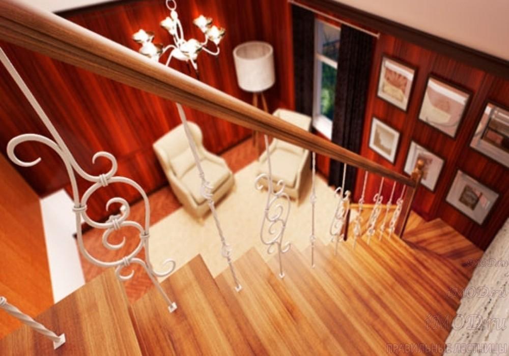 """Фото 8: лестница на второй этаж (на заказ) """"СуперЭлегант"""" Г-образная с поворотом. Изготовление лестницы на заказ под ключ, фото 8."""