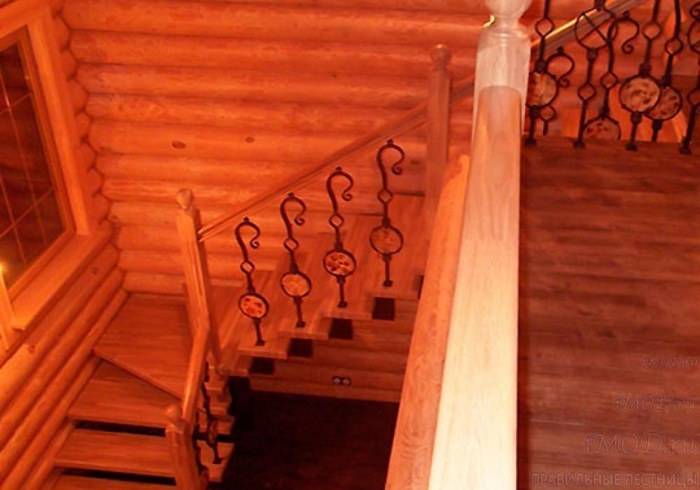 """Фото 6: лестница на второй этаж (на заказ) """"СуперЭлегант"""" Г-образная с поворотом. Изготовление лестницы на заказ под ключ, фото 6."""
