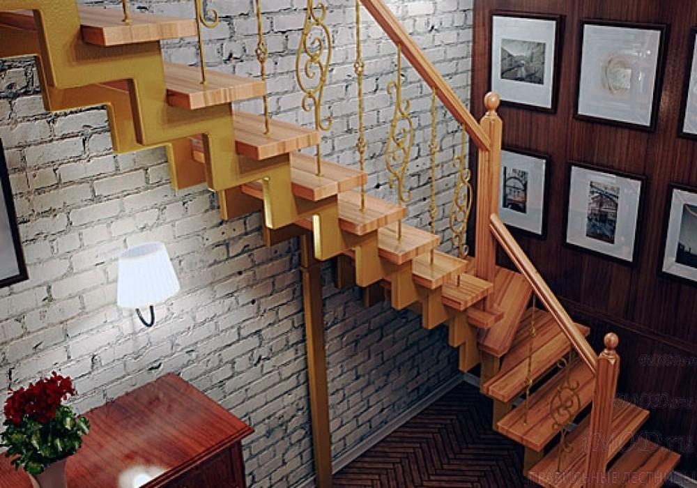 """Фото 4: лестница на второй этаж (на заказ) """"СуперЭлегант"""" Г-образная с поворотом. Изготовление лестницы на заказ под ключ, фото 4."""