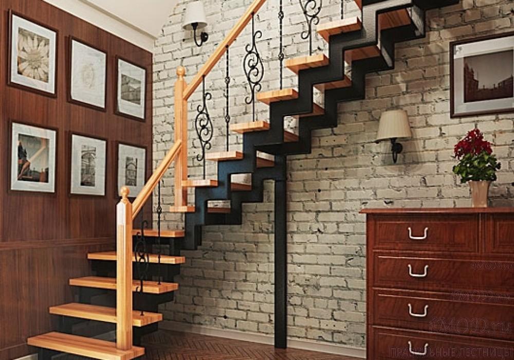 """Фото 2: лестница на второй этаж (на заказ) """"СуперЭлегант"""" Г-образная с поворотом. Изготовление лестницы на заказ под ключ, фото 2."""