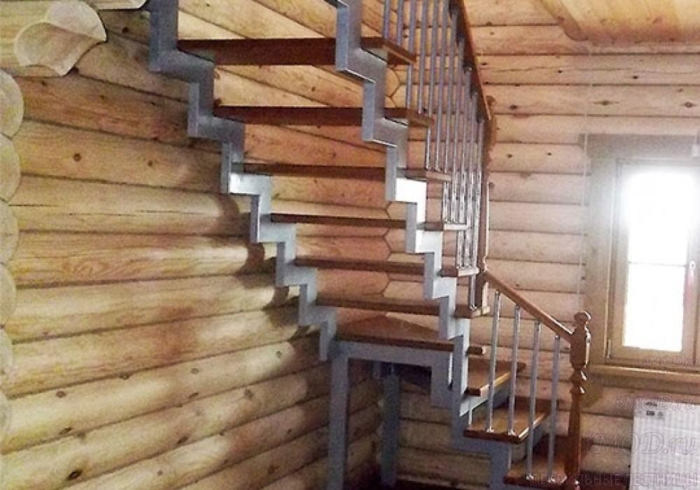 """Фото 3: лестница на второй этаж (на заказ) """"СуперЭлегант"""" Г-образная с поворотом. Изготовление лестницы на заказ под ключ, фото 3."""