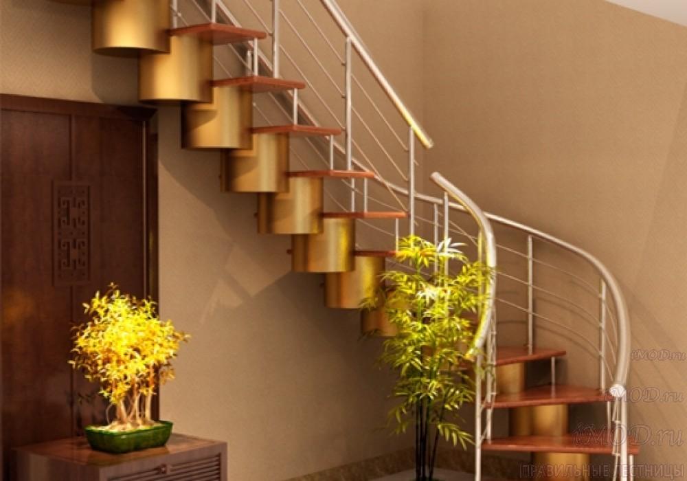 """Фото: лестница на второй этаж Г-образная ,бизнес-класса """"Модерн""""-1."""