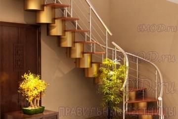 """Фото: лестница на второй этаж Г-образная бизнес-класса """"Модерн""""."""