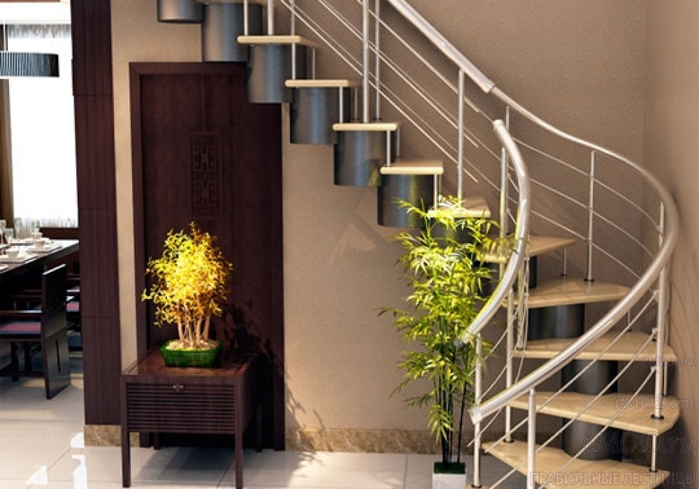 """Фото: лестница на второй этаж Г-образная ,бизнес-класса """"Модерн""""-8."""