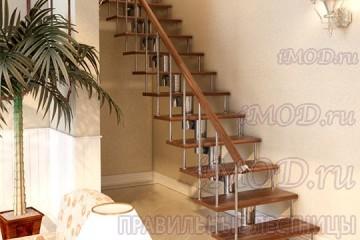 """Фото: прямая лестница на второй этаж """"Престиж"""" одномаршевая"""