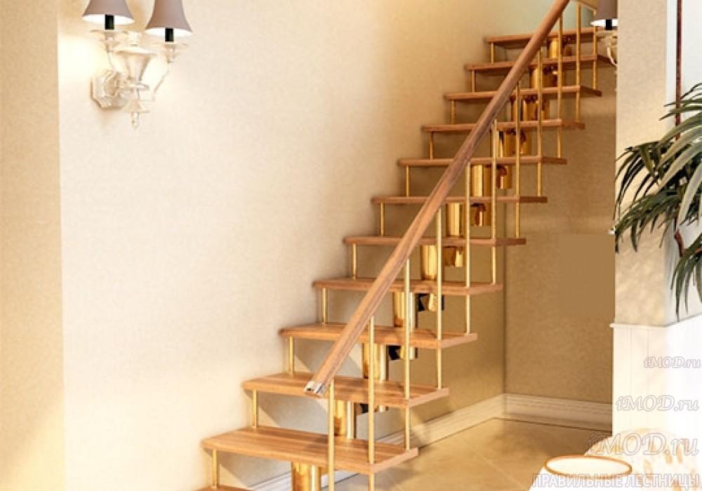 """Фото 1: прямая лестница на второй этаж """"Престиж"""" одномаршевая в загородный дом, коттедж, таунхаус, для дачи-фото1."""