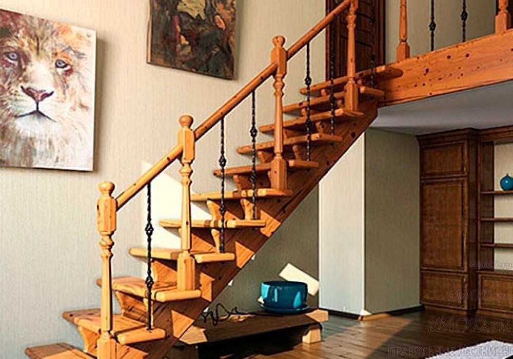 """Фото 2: красивые лестницы на второй этаж с поворотом 90 градусов """"Дуэт""""  - фото 2."""