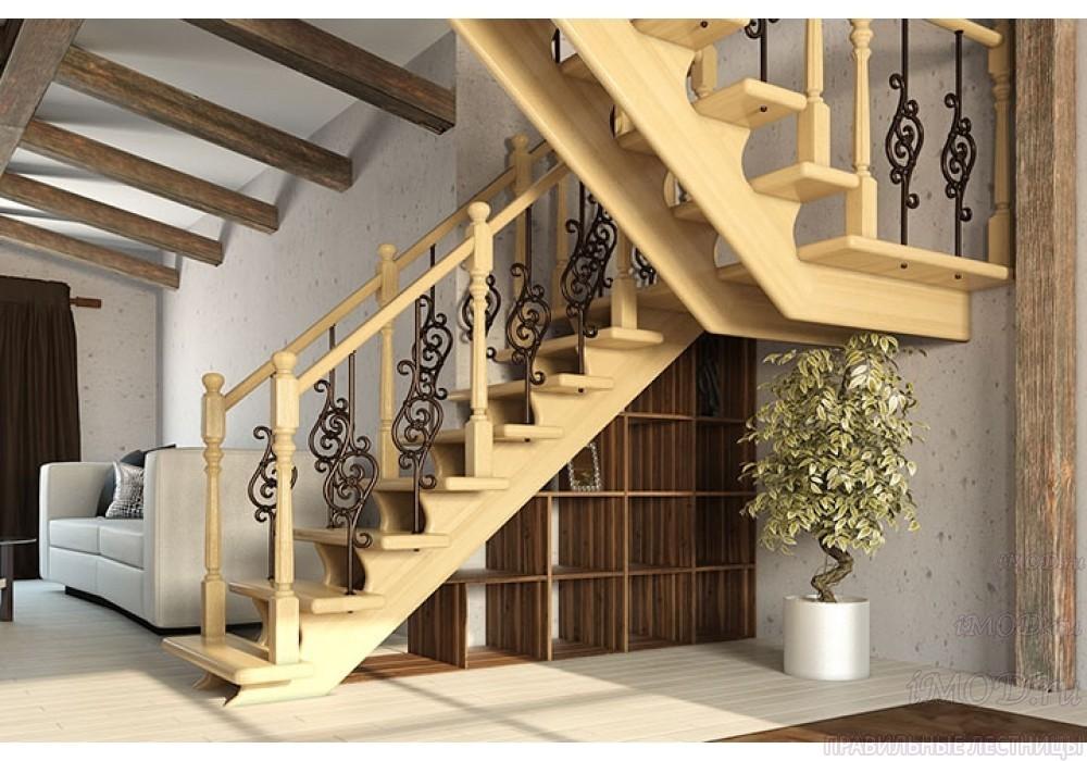 """Фото 1: деревянная лестница на второй этаж """"Дуэт"""" с разворотом из бука - фото 1."""
