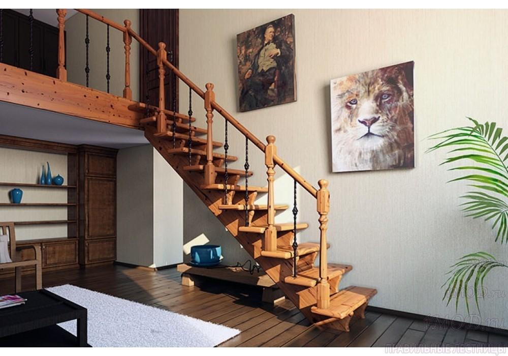 """Фото: красивая деревянная прямая лестница на второй этаж """"Дуэт"""" в интерьере"""